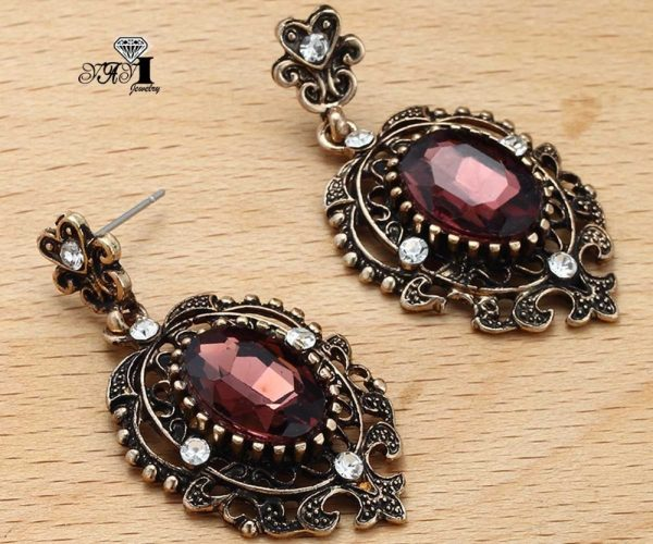 24248 85f403 600x500 - YaYi Jewelry New Red Glass  Rhinestone Dangle Crystal Earring Women's Fashion Ancient Gold Color Gem Earrings Gift 1201