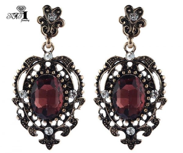 24248 9fb4ac 600x500 - YaYi Jewelry New Red Glass  Rhinestone Dangle Crystal Earring Women's Fashion Ancient Gold Color Gem Earrings Gift 1201