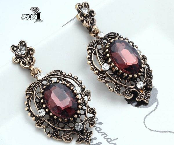 24248 c064d1 600x500 - YaYi Jewelry New Red Glass  Rhinestone Dangle Crystal Earring Women's Fashion Ancient Gold Color Gem Earrings Gift 1201