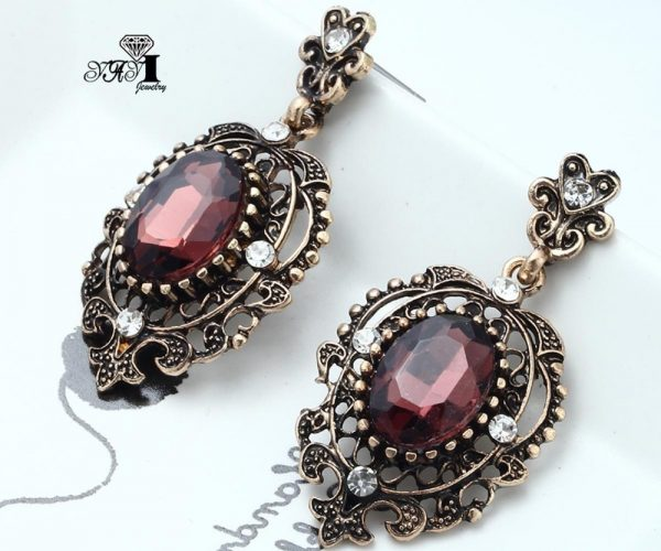 24248 e04e3c 600x500 - YaYi Jewelry New Red Glass  Rhinestone Dangle Crystal Earring Women's Fashion Ancient Gold Color Gem Earrings Gift 1201