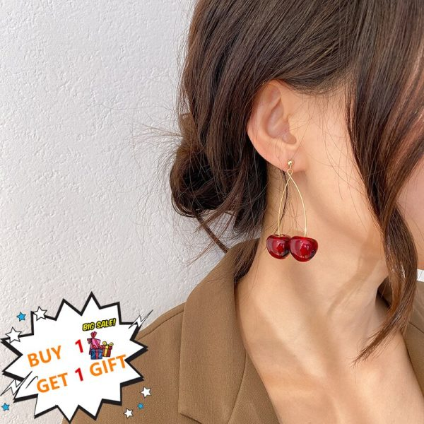 24266 0712ec 600x600 - AOMU S925 Sterling Silver Pin Autumn Winter New Wine Red Cherry Cute Fruit Long Drop Earrings For Women Vintage Pendientes Gifts
