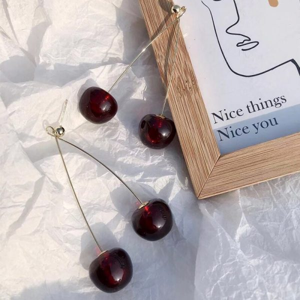 24266 20a8a0 600x600 - AOMU S925 Sterling Silver Pin Autumn Winter New Wine Red Cherry Cute Fruit Long Drop Earrings For Women Vintage Pendientes Gifts