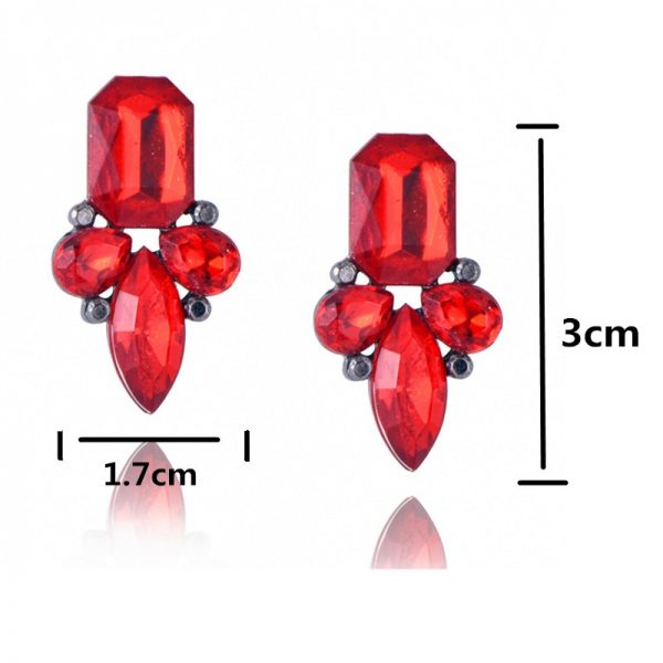 24339 baf76b 600x600 - New Women's Fashion Crystal  Earrings Rhinestone RED / Pink Glass Black Resin Sweet Metal Leaf Ear Earrings For Girl
