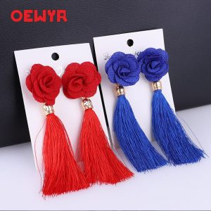 24387 27f8c9 300x300 - Fashion Bohemian Tassel Crystal Long Earrings flowers White Red Silk Fabric Drop Dangle Tassel Earrings For Women 2019 Jewelry