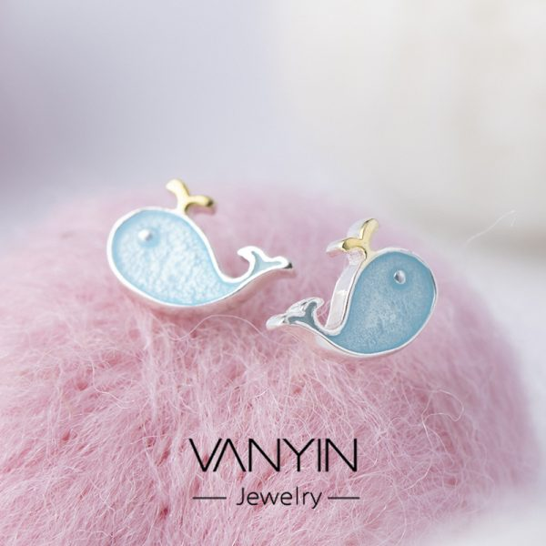 24724 790000 600x600 - Stud Earrings for Women with 925 Sterling Silver Earrings Dolphin Light Blue Jewelry Accessories Wholesale