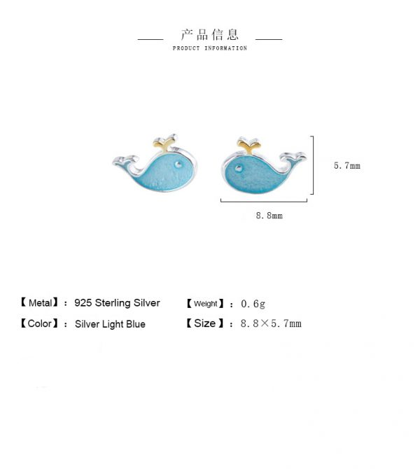 24724 90b2a7 600x670 - Stud Earrings for Women with 925 Sterling Silver Earrings Dolphin Light Blue Jewelry Accessories Wholesale