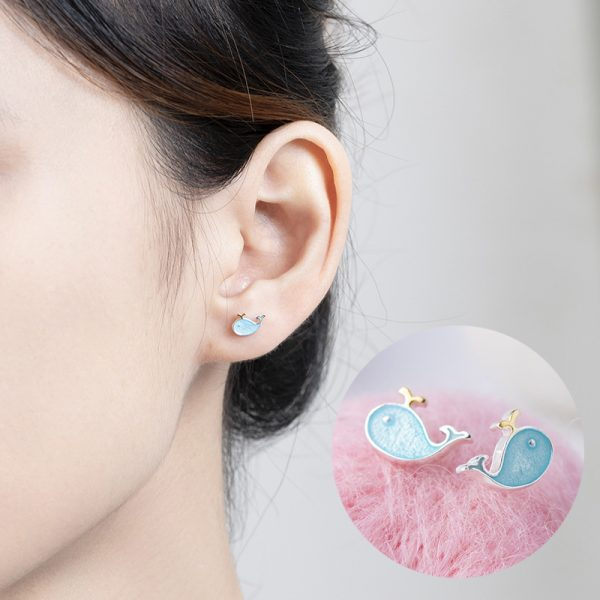 24724 fdb0c6 600x600 - Stud Earrings for Women with 925 Sterling Silver Earrings Dolphin Light Blue Jewelry Accessories Wholesale