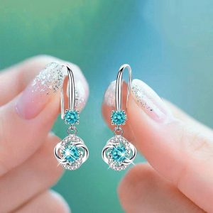 24731 a21dde 300x300 - Boho Female Crystal Pink Blue White Drop Earrings Fashion 925 Silver Zircon Stone Earrings Small Round Dangle Earrings For Women