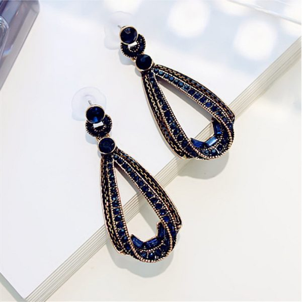 24744 064098 600x600 - LUBOV Exaggerated Blue Crystal Lace Golden Metal Chain Dangle Earrings Women Personality Statement Drop Earrings Christmas Gift