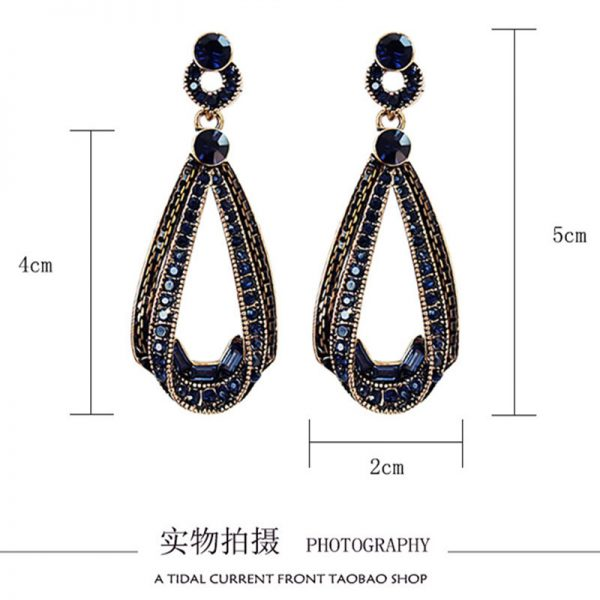 24744 33bc92 600x600 - LUBOV Exaggerated Blue Crystal Lace Golden Metal Chain Dangle Earrings Women Personality Statement Drop Earrings Christmas Gift