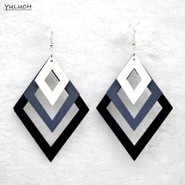 24759 a0d220 600x600 - KHARISMA Fashion Blue Multi-layer Wooden Hollow Statement Drop Earrings Ethnic Boho Long Pendant Dangle Earrings For Women Lady