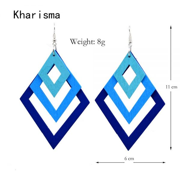 24759 b938f5 600x600 - KHARISMA Fashion Blue Multi-layer Wooden Hollow Statement Drop Earrings Ethnic Boho Long Pendant Dangle Earrings For Women Lady