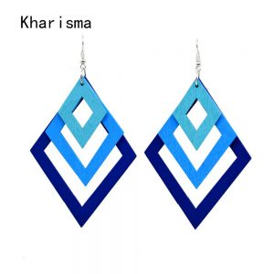 24759 ce5008 300x300 - KHARISMA Fashion Blue Multi-layer Wooden Hollow Statement Drop Earrings Ethnic Boho Long Pendant Dangle Earrings For Women Lady
