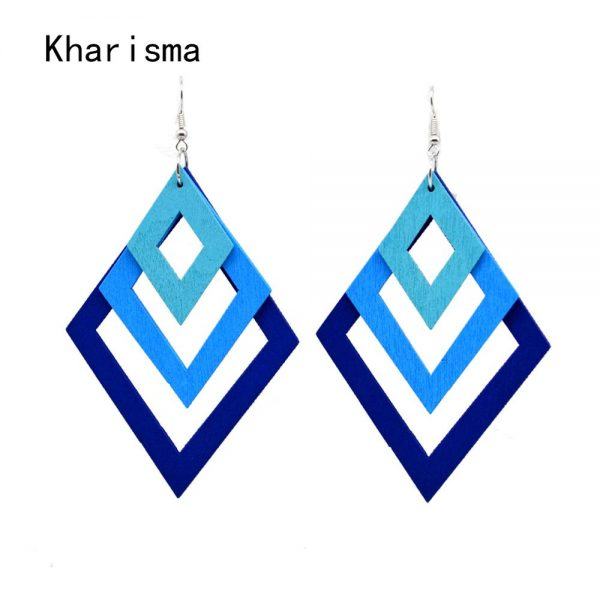 24759 ce5008 600x600 - KHARISMA Fashion Blue Multi-layer Wooden Hollow Statement Drop Earrings Ethnic Boho Long Pendant Dangle Earrings For Women Lady