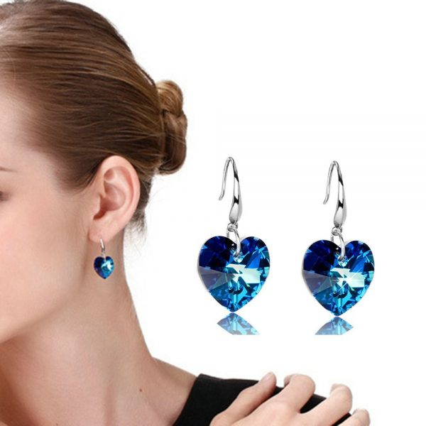 24852 2bb0d6 600x600 - 2019 Austria Crystal Silver Plated Earrings Blue Heart of Ocean Shaped Earring for Birthday Gift for Women pendientes mujer moda