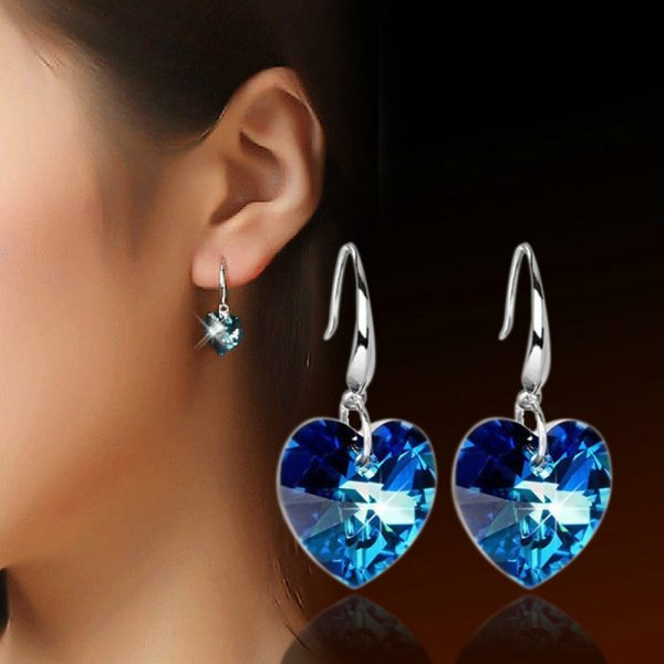 24852 2e8d0d 600x600 - 2019 Austria Crystal Silver Plated Earrings Blue Heart of Ocean Shaped Earring for Birthday Gift for Women pendientes mujer moda