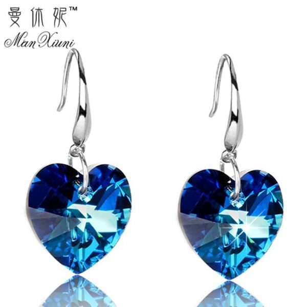 24852 a45cb7 600x600 - 2019 Austria Crystal Silver Plated Earrings Blue Heart of Ocean Shaped Earring for Birthday Gift for Women pendientes mujer moda