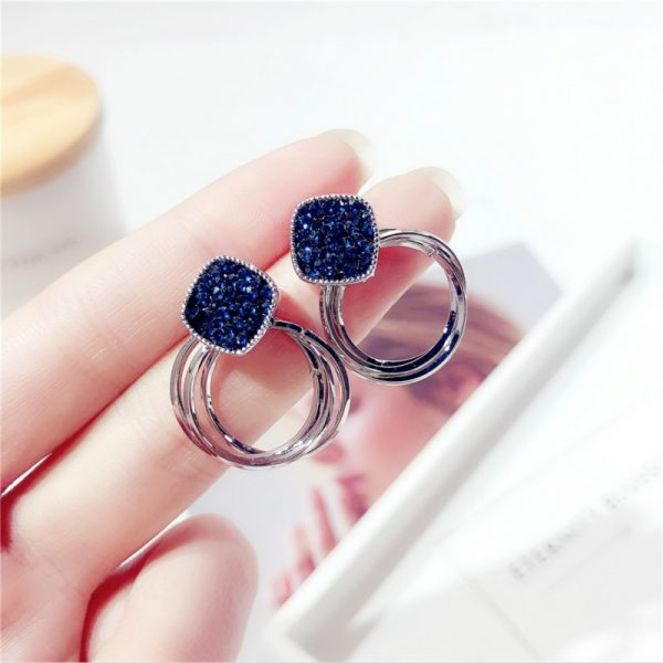 24969 970de0 600x600 - 2018 New Fashion Zinc Alloy Classic Round Women Dangle Earrings Korean Deep Blue Crystal Circle Jewelry For Female