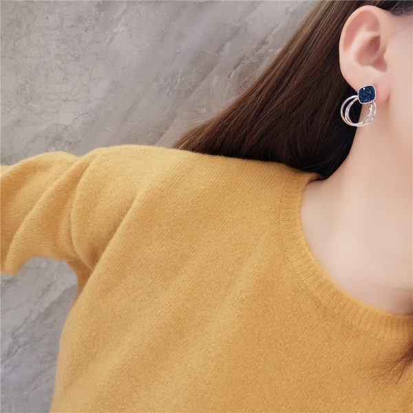 24969 9c9f47 600x600 - 2018 New Fashion Zinc Alloy Classic Round Women Dangle Earrings Korean Deep Blue Crystal Circle Jewelry For Female