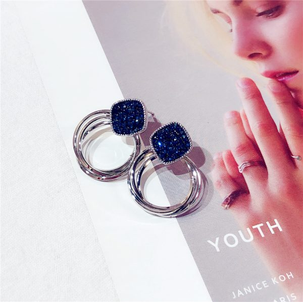 24969 b36889 600x599 - 2018 New Fashion Zinc Alloy Classic Round Women Dangle Earrings Korean Deep Blue Crystal Circle Jewelry For Female