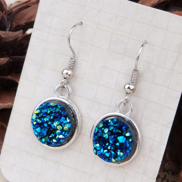 24995 001961 600x600 - 8SEASONS Resin Drusy For Women Earrings Silver Color Color Blue AB Color / Silvery Round Party Accessories 34mm x 15mm, 1 Pair