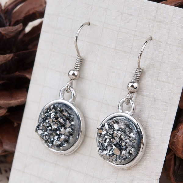 24995 2417e9 600x600 - 8SEASONS Resin Drusy For Women Earrings Silver Color Color Blue AB Color / Silvery Round Party Accessories 34mm x 15mm, 1 Pair