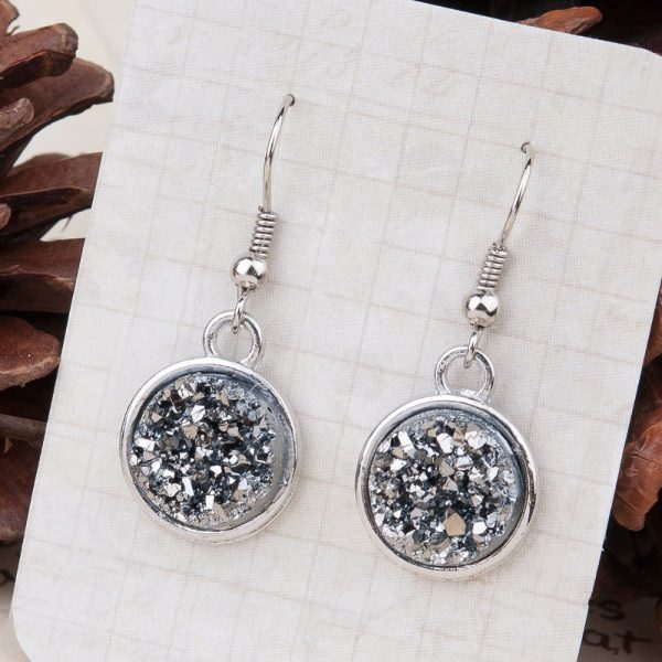 24995 45a020 600x600 - 8SEASONS Resin Drusy For Women Earrings Silver Color Color Blue AB Color / Silvery Round Party Accessories 34mm x 15mm, 1 Pair