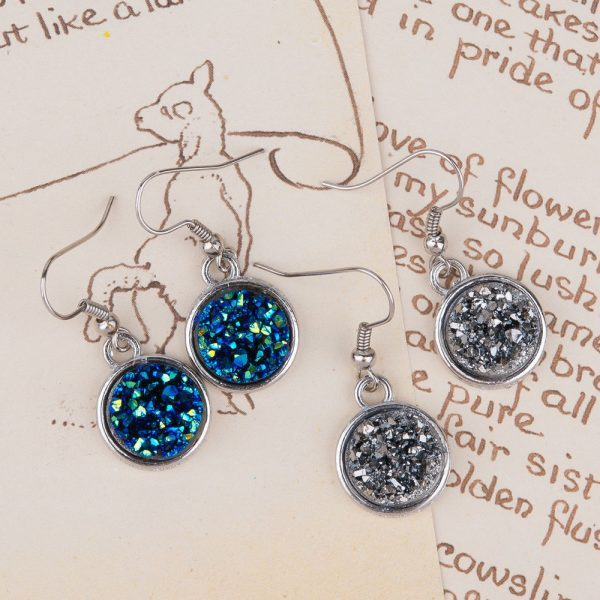 24995 86db3c 600x600 - 8SEASONS Resin Drusy For Women Earrings Silver Color Color Blue AB Color / Silvery Round Party Accessories 34mm x 15mm, 1 Pair