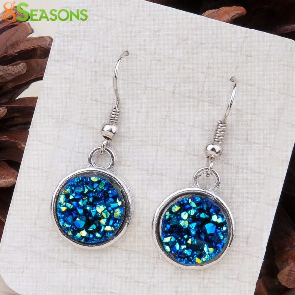 24995 dd37af 600x600 - 8SEASONS Resin Drusy For Women Earrings Silver Color Color Blue AB Color / Silvery Round Party Accessories 34mm x 15mm, 1 Pair