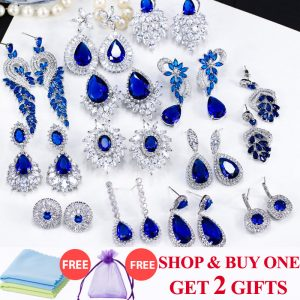 25079 58ce92 300x300 - ThreeGraces Noble Big Cubic Zirconia Dark Blue Crystal Earring for Women Statement Round Flower Dangle Teardrop Earrings ER011