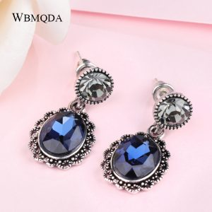25122 072777 300x300 - Kinel New Fashion Blue Crystal Flower Drop Earrings Gold Color Oval Earrings For Women Vintage Jewelry Wholesale