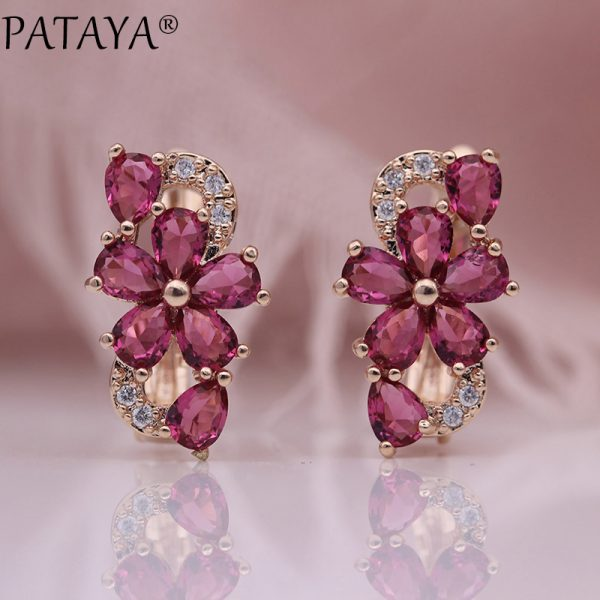 25324 76a66e 600x600 - PATAYA New Water Drop Plum Blossom Dangle Earrings Women Fashion Trendy Jewelry 585 Rose Gold Petal Natural Zircon Blue Earrings