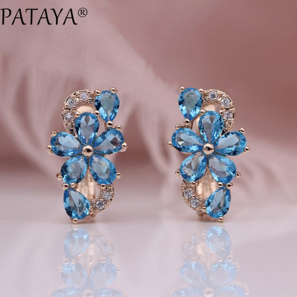 25324 d6fb37 600x600 - PATAYA New Water Drop Plum Blossom Dangle Earrings Women Fashion Trendy Jewelry 585 Rose Gold Petal Natural Zircon Blue Earrings