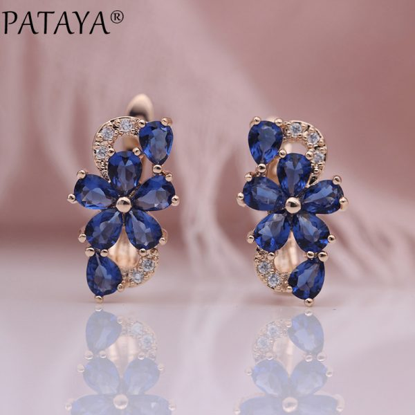 25324 d9cca6 600x600 - PATAYA New Water Drop Plum Blossom Dangle Earrings Women Fashion Trendy Jewelry 585 Rose Gold Petal Natural Zircon Blue Earrings