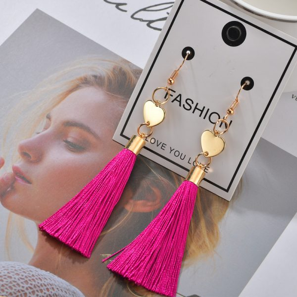 25353 09d57d 600x600 - Bohemian Heart Tassel Long Drop Earrings BOHO Pink Blue Silk Fabric Design Dangle Earrings For Women Jewelry Gift Christmas