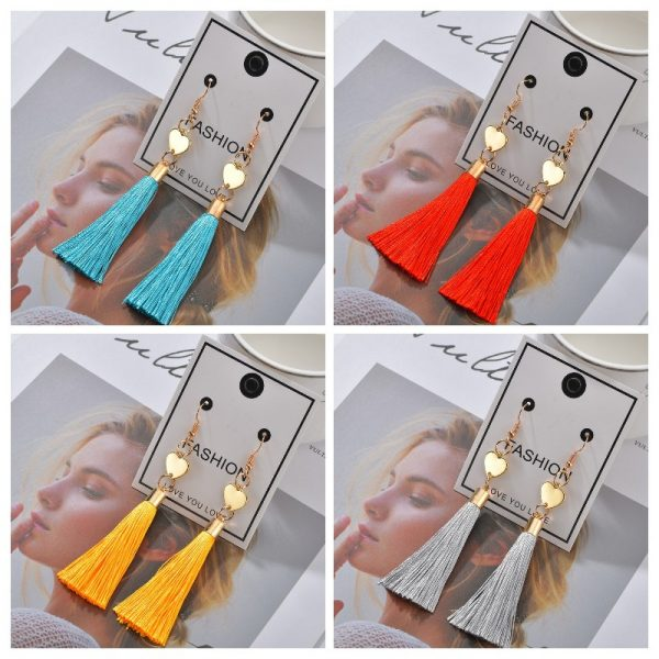 25353 22daee 600x600 - Bohemian Heart Tassel Long Drop Earrings BOHO Pink Blue Silk Fabric Design Dangle Earrings For Women Jewelry Gift Christmas