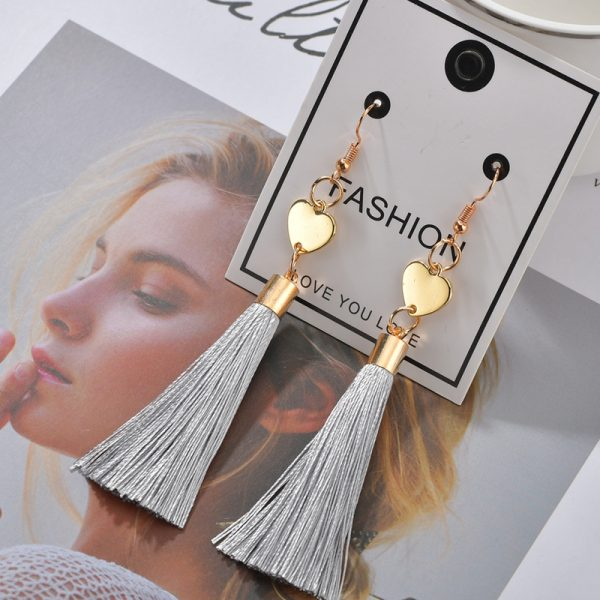 25353 2d6710 600x600 - Bohemian Heart Tassel Long Drop Earrings BOHO Pink Blue Silk Fabric Design Dangle Earrings For Women Jewelry Gift Christmas