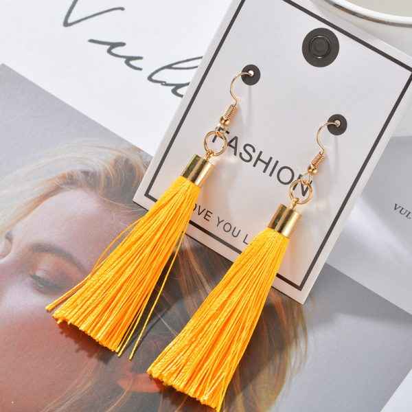 25353 84eed5 600x600 - Bohemian Heart Tassel Long Drop Earrings BOHO Pink Blue Silk Fabric Design Dangle Earrings For Women Jewelry Gift Christmas
