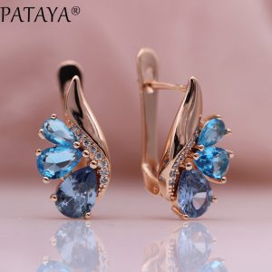 25381 1d4ba9 300x300 - PATAYA New Three Water Drop Gradient Blue Earrings Women Natural Zircon Party Fine Fashion Jewelry 585 Rose Gold Dangle Earrings