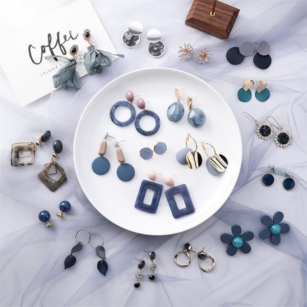 25471 828229 600x600 - Summer Blue Geometric Acrylic Irregular Hollow Circle Round Square Drop Earrings for Women Metal Bump Party Beach Jewelry