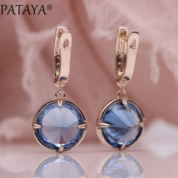 25484 222055 600x600 - PATAYA New Round Multicolor Natural Zircon Dangle Earrings Women Fashion Simple Jewelry 585 Rose Gold Gradient Blue Earrings