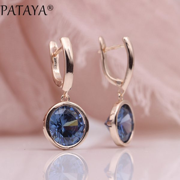 25484 4e673d 600x600 - PATAYA New Round Multicolor Natural Zircon Dangle Earrings Women Fashion Simple Jewelry 585 Rose Gold Gradient Blue Earrings