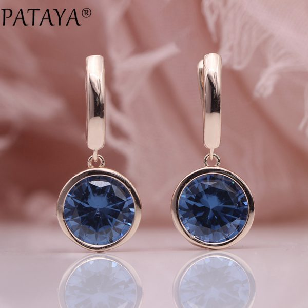 25484 6e32ed 600x600 - PATAYA New Round Multicolor Natural Zircon Dangle Earrings Women Fashion Simple Jewelry 585 Rose Gold Gradient Blue Earrings