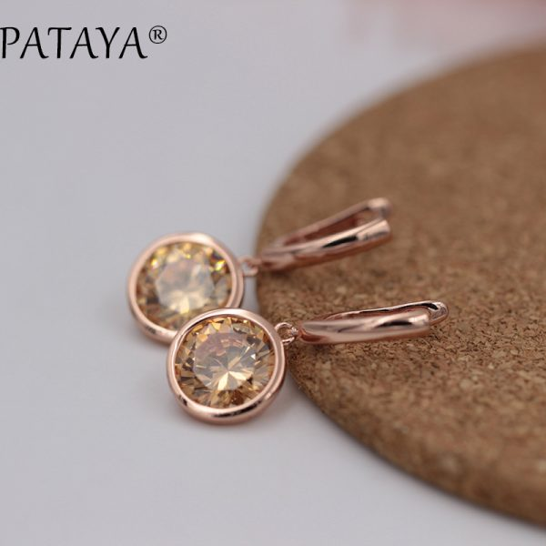 25484 88f3f7 600x600 - PATAYA New Round Multicolor Natural Zircon Dangle Earrings Women Fashion Simple Jewelry 585 Rose Gold Gradient Blue Earrings