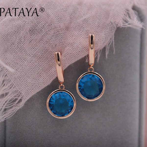 25484 89e602 600x600 - PATAYA New Round Multicolor Natural Zircon Dangle Earrings Women Fashion Simple Jewelry 585 Rose Gold Gradient Blue Earrings
