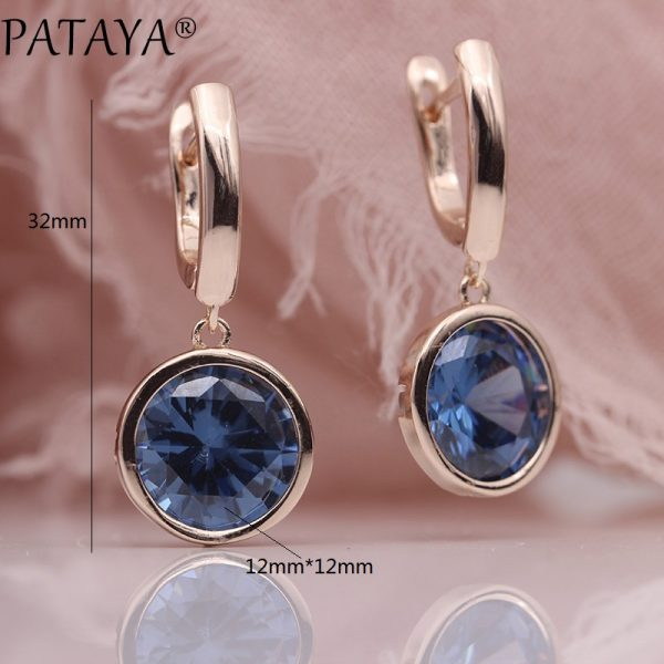 25484 ab769d 600x600 - PATAYA New Round Multicolor Natural Zircon Dangle Earrings Women Fashion Simple Jewelry 585 Rose Gold Gradient Blue Earrings