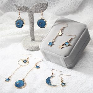 25534 659028 300x300 - 2018 Fashion Korean Romantic Girls Blue Heart Star Moon Long Asymmetric Dangle Drop Earrings Variety Personality Cute Jewelry