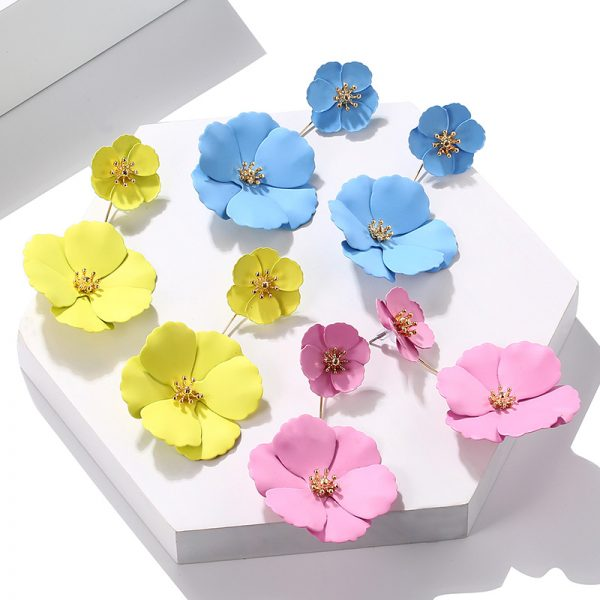 25742 c15cde 600x600 - Statement Jewelry Big Acrylic Flower Earrings Blue Pink Earrings New Design Fashion Jewelry Brincos For Women Wedding Gifts