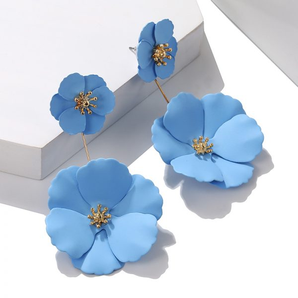 25742 f4d9e8 600x600 - Statement Jewelry Big Acrylic Flower Earrings Blue Pink Earrings New Design Fashion Jewelry Brincos For Women Wedding Gifts