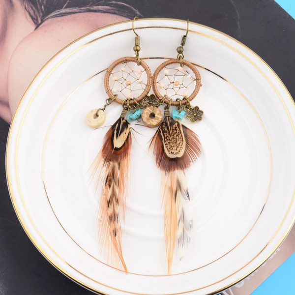 26066 50f22c 600x600 - TopHanqi Bohemian Hollow Dream Catcher Leaf Feather Earrings For Women Indian Jewelry Blue Natural Stone Drop Dangle Earrings